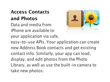 Apple touting access to Address book on it's developers site